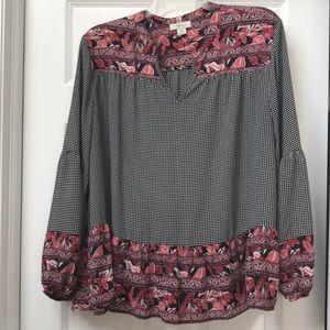 Style & Co blouse black & white w floral trim XXL